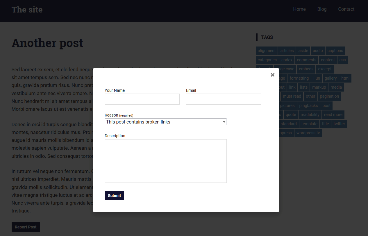 Clicking the button reveals a popup form which the visitor completes to submit a flag