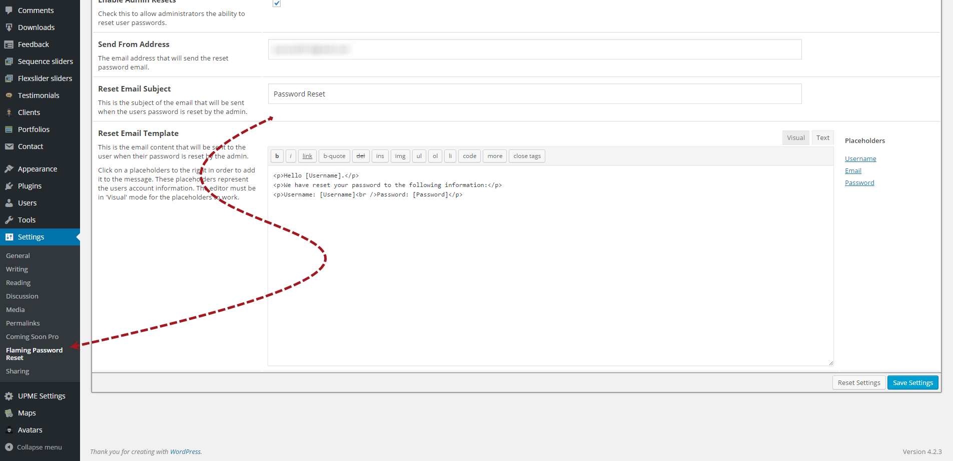 The settings page allows you to customize the emails going out to your users. This page showcases some shortcodes.