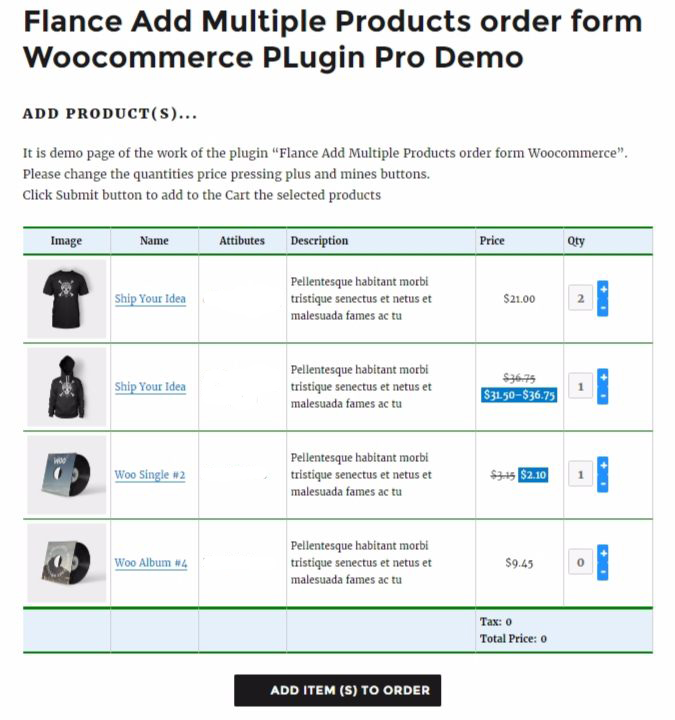 Flance Add Multiple Products Order Form For Woocommerce