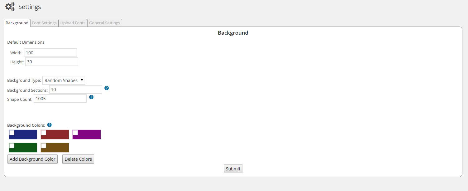 Plugin admin page example.