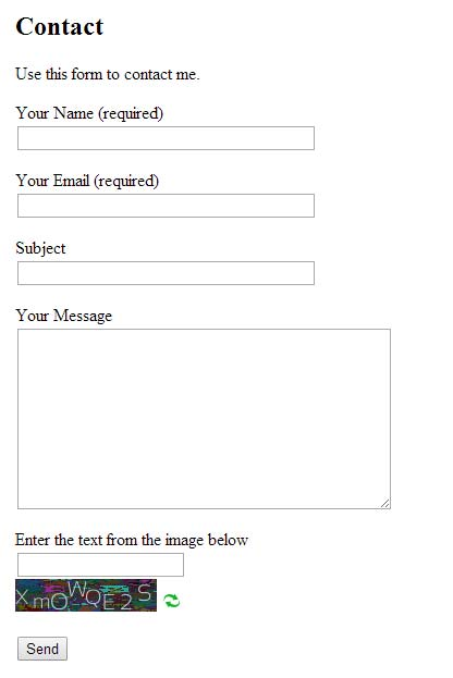 Contact Form 7 Form Example.