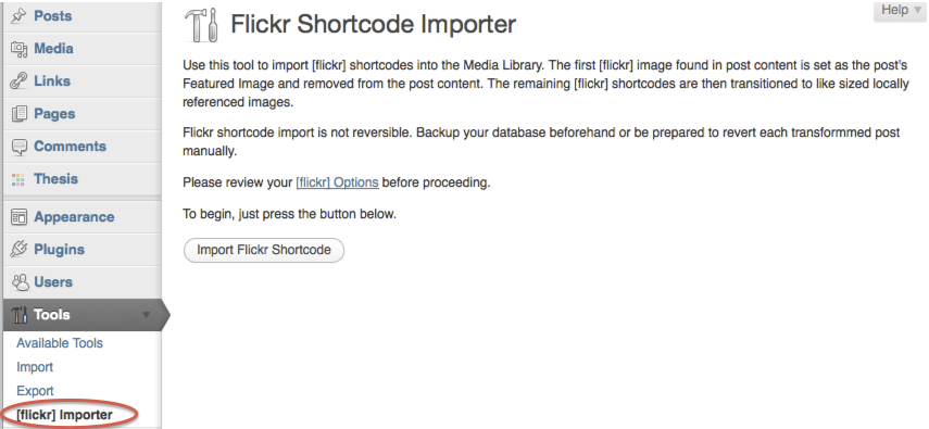 flickr-shortcode-importer screenshot 2