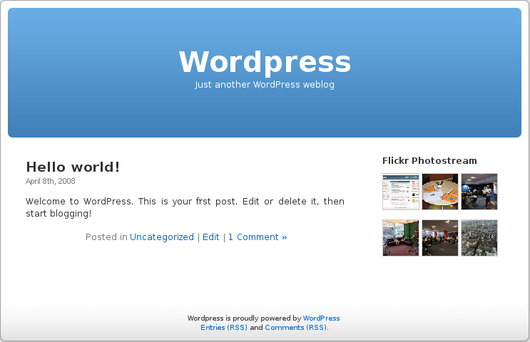 This is a screenshot of the application running on WordPress' front page - screenshot-1.png