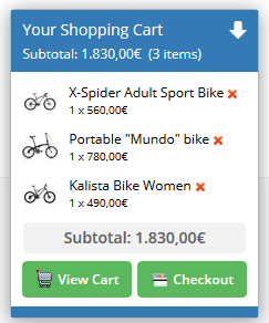 The cart in the front end pages