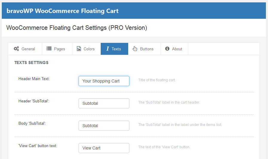 Settings for Cart (PRO edition)