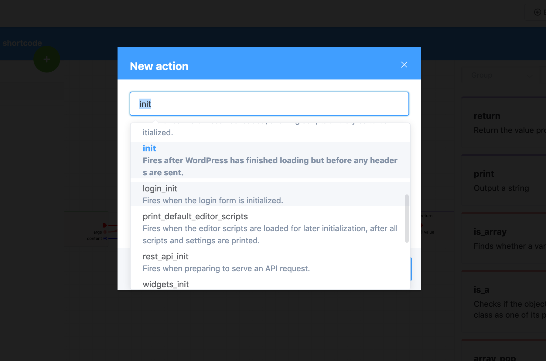 Hooks (actions and filters) picker