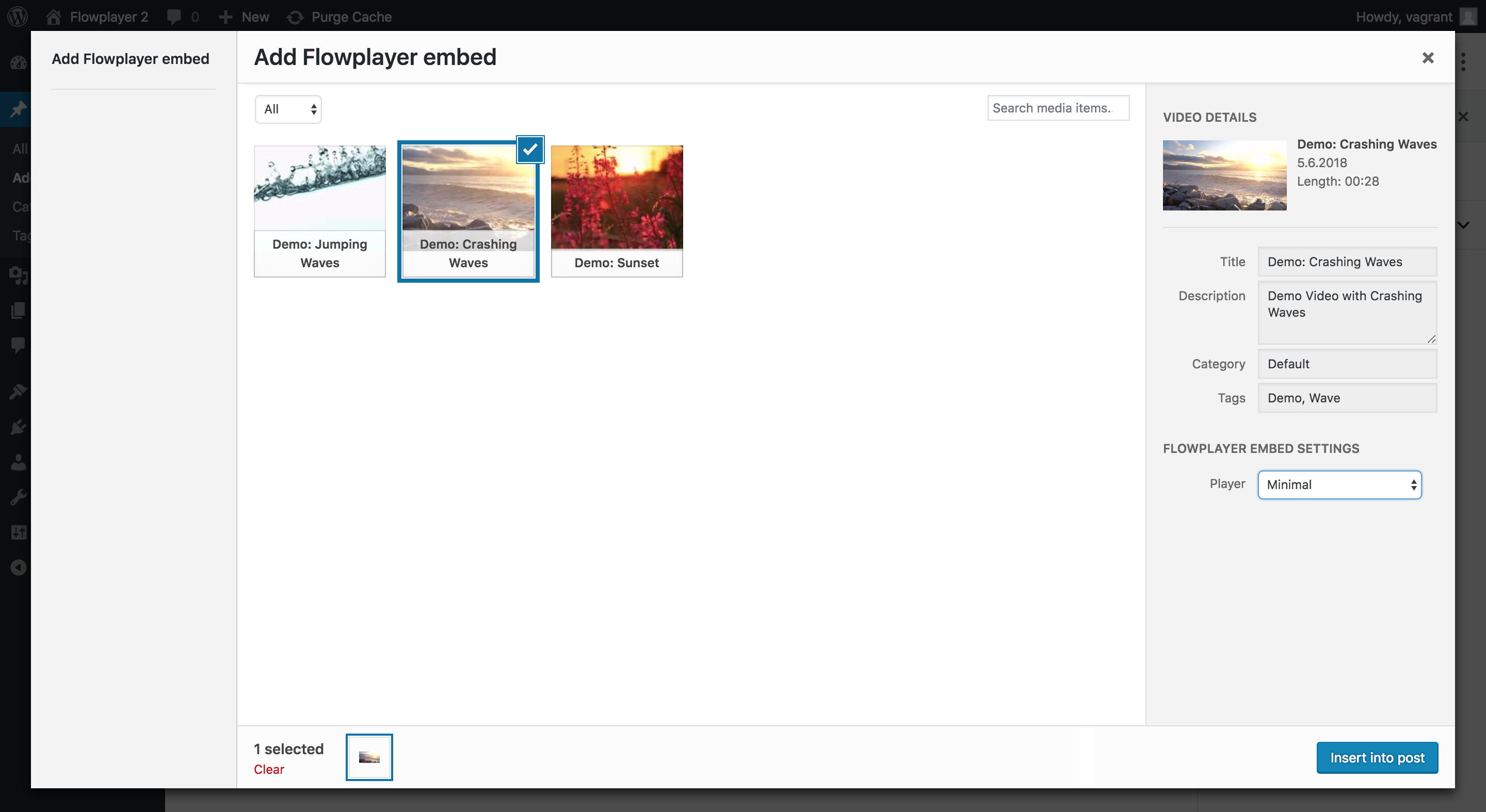 Search and select video and player for embed directly inside WordPress
