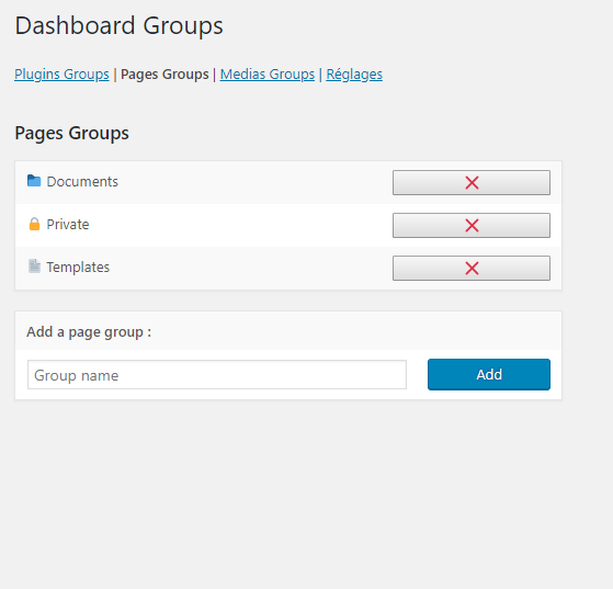 Pages groups
