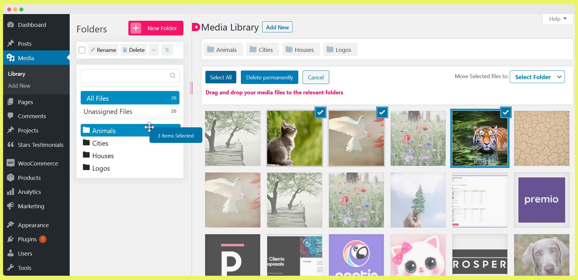 Organize WordPress media library folders