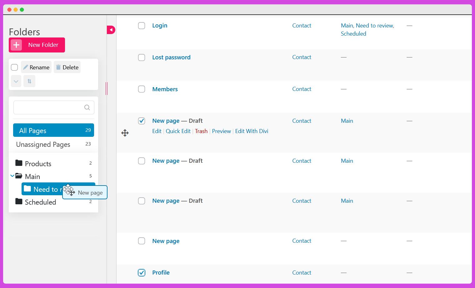 Organize WordPress pages folders