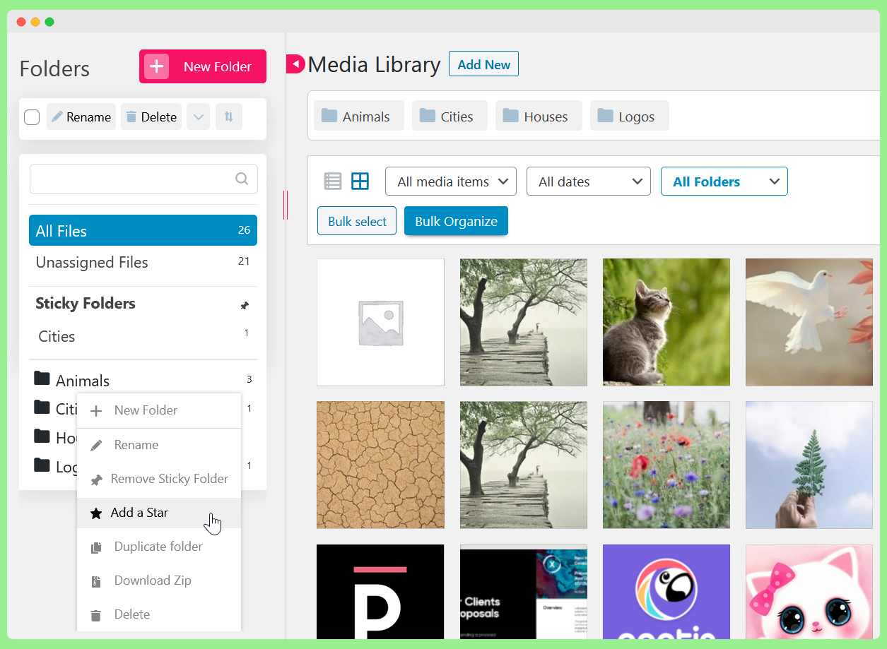 Advanced Folders settings like download folder as zip, duplicate folder, add a star, sticky folders, and more