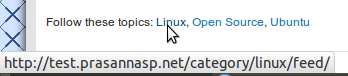 Plugin showing link to RSS feed for Linux, Open Source and Ubuntu categories in post footer