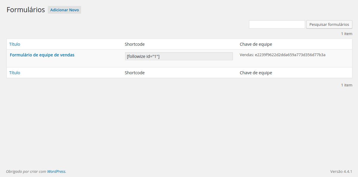 Listagem dos formulários cadastrados