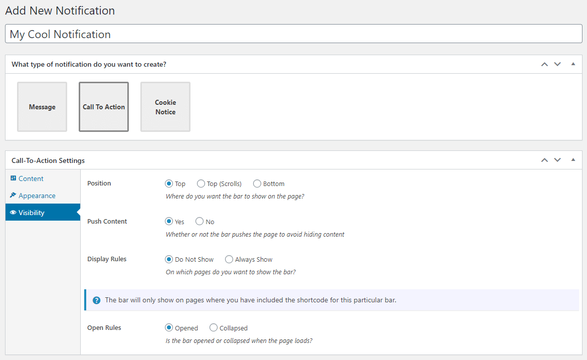 Admin - Edit Notification - Visibility