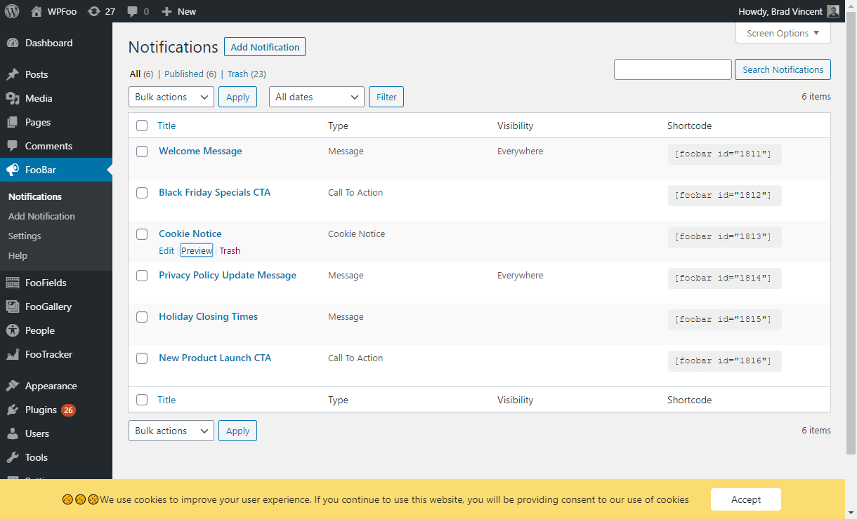 Admin - Notifications - Preview
