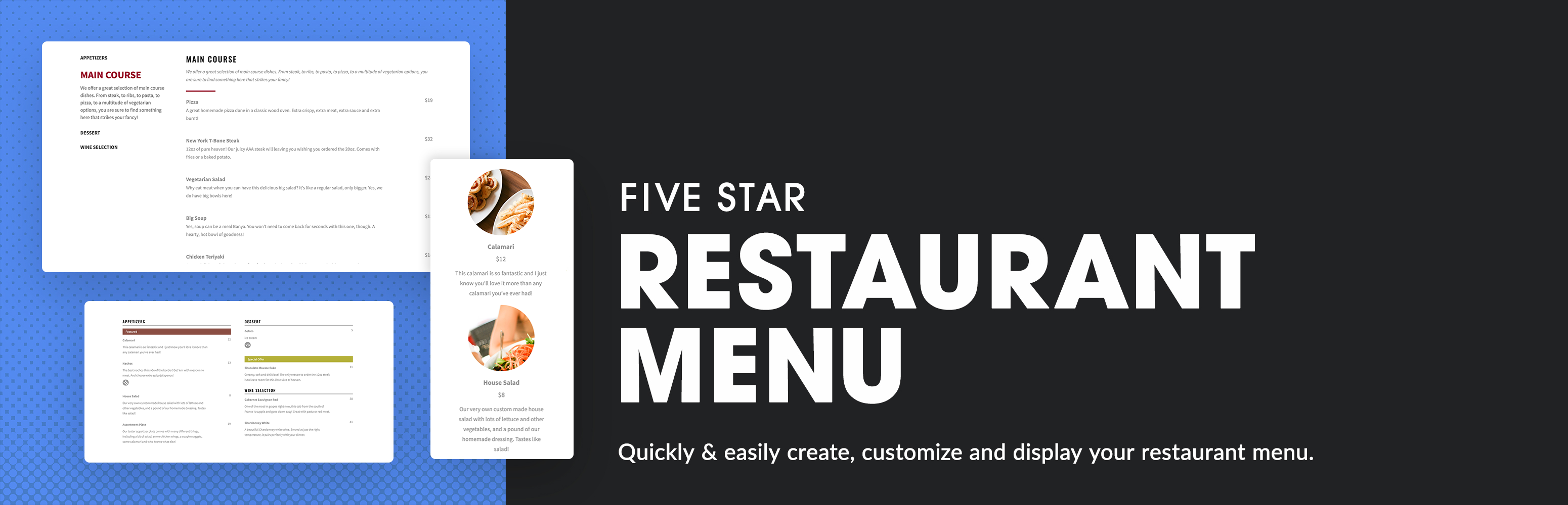 Five Star Restaurant Menu