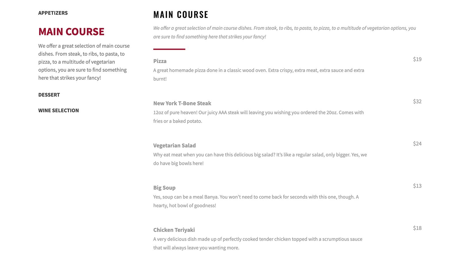 五星级餐厅菜单– WordPress订购插件