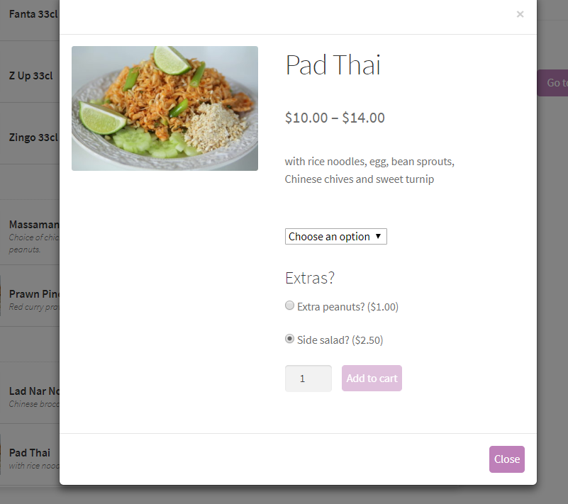 <p>Side dish example with WooCommerce Add-On</p>