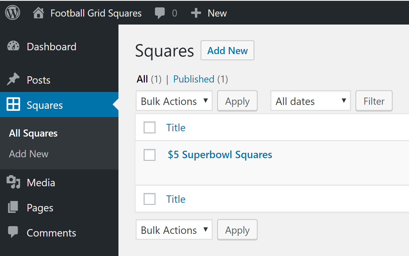 Create and manage squares post types.