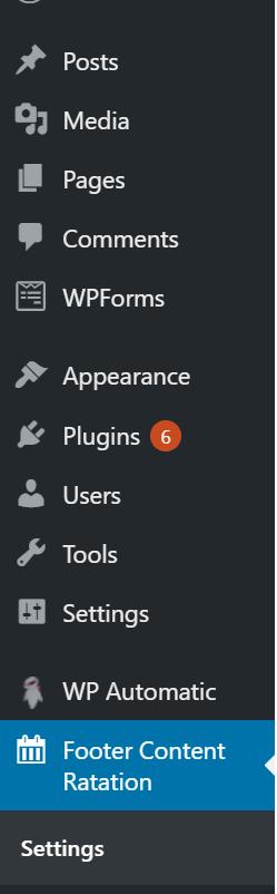 Footer Post admin menu bar.