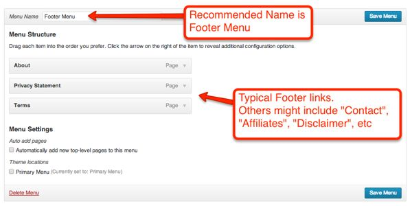 Creating a typical footer menu