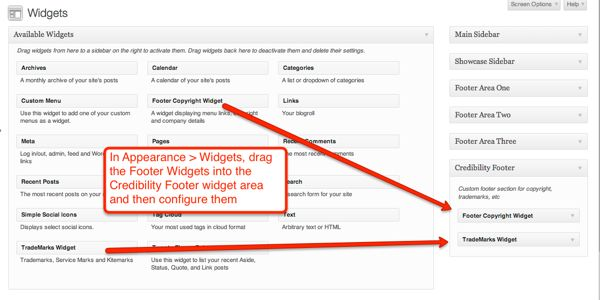 Adding widgets into the Credibility Footer widget area