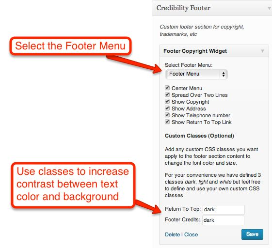 Configuring the Footer Copyright Widget