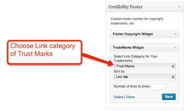 Configuring the Footer Trademarks Widget