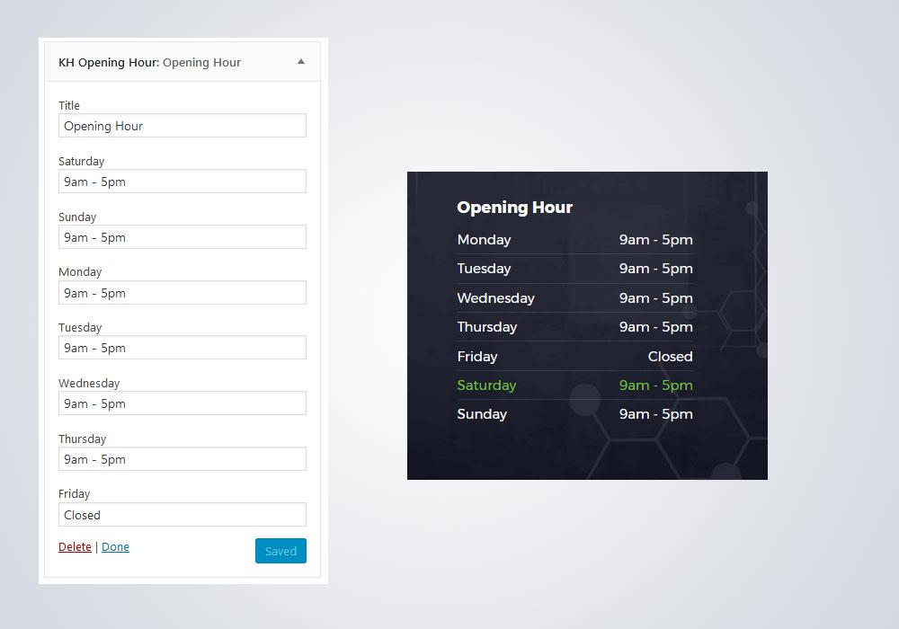 Opening Hour Widget