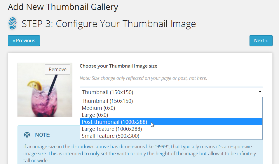 Thumbnail Image Sizes generated from the sizes supported by your theme