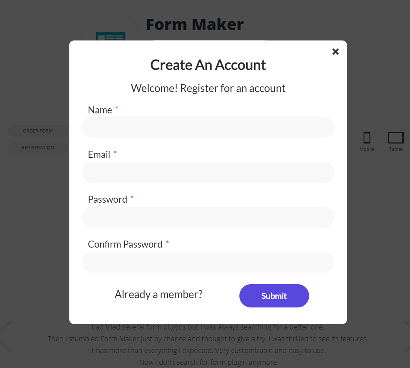 Form Maker by WD – user-friendly drag & drop Form Builder plugin