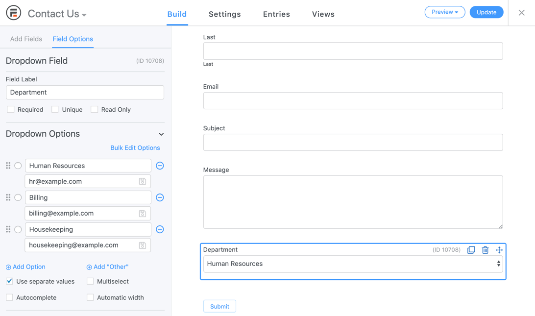 Field Options for checkbox fields in the form maker