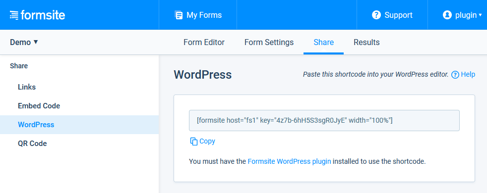 This screenshot shows where to find the shortcode inside your Formsite account.