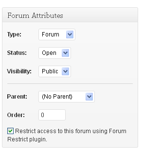 Restrict/unrestrict forums
