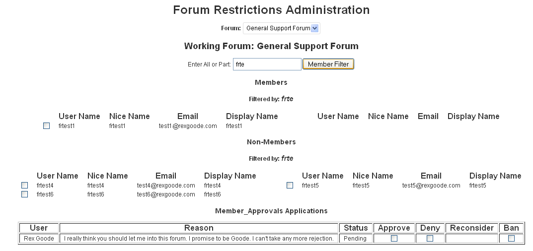 Forum restrict administration