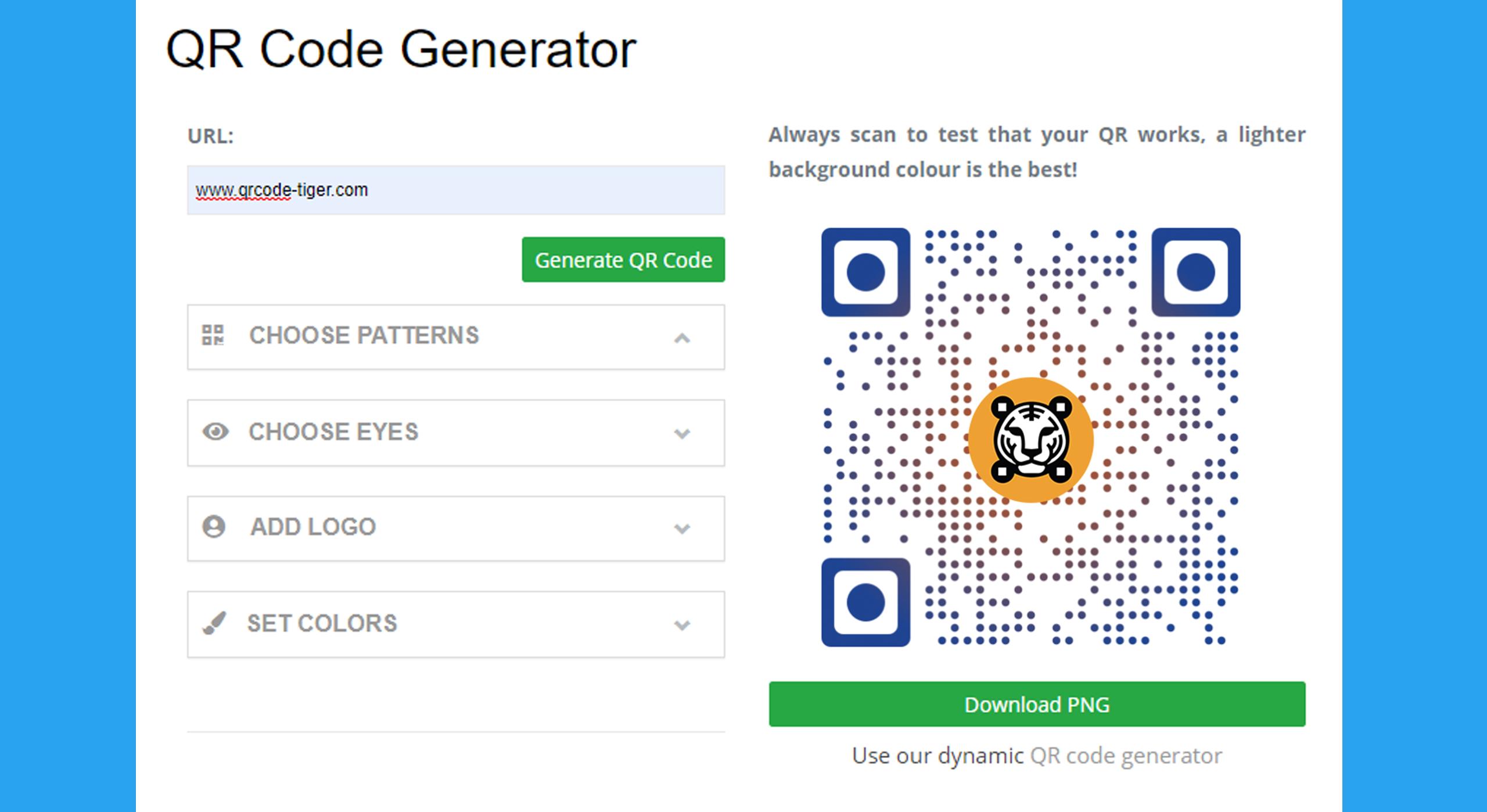 QRTiger - Make a static QR code with logo for Free!