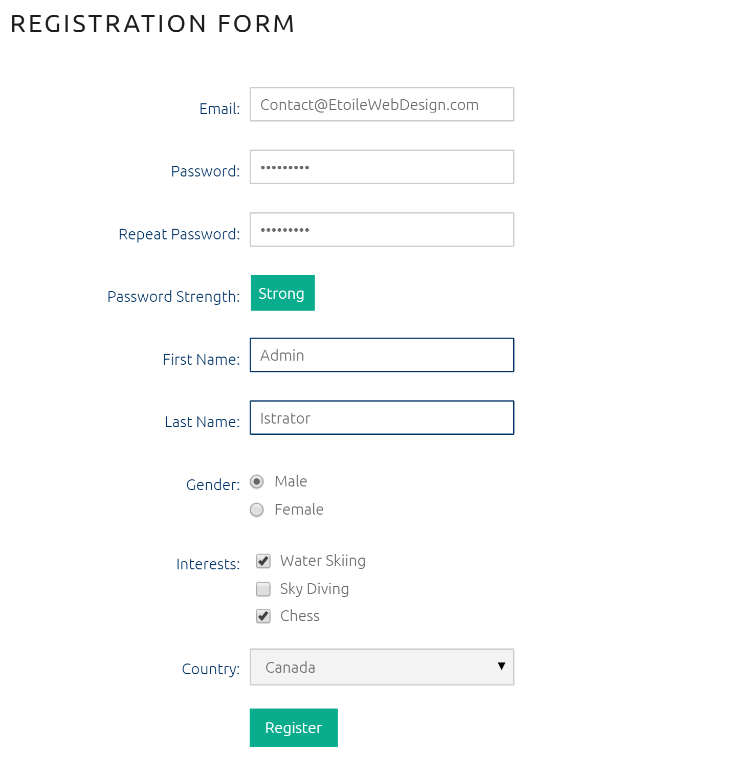 Simple registration page with custom user fields