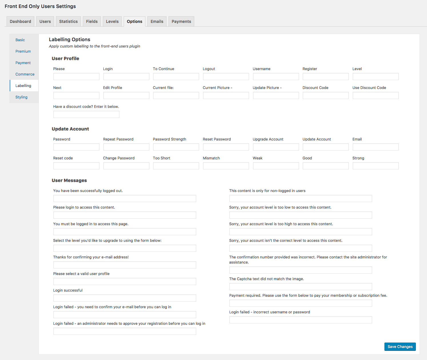 "The ""Labelling"" section of the ""Options"" admin screen"