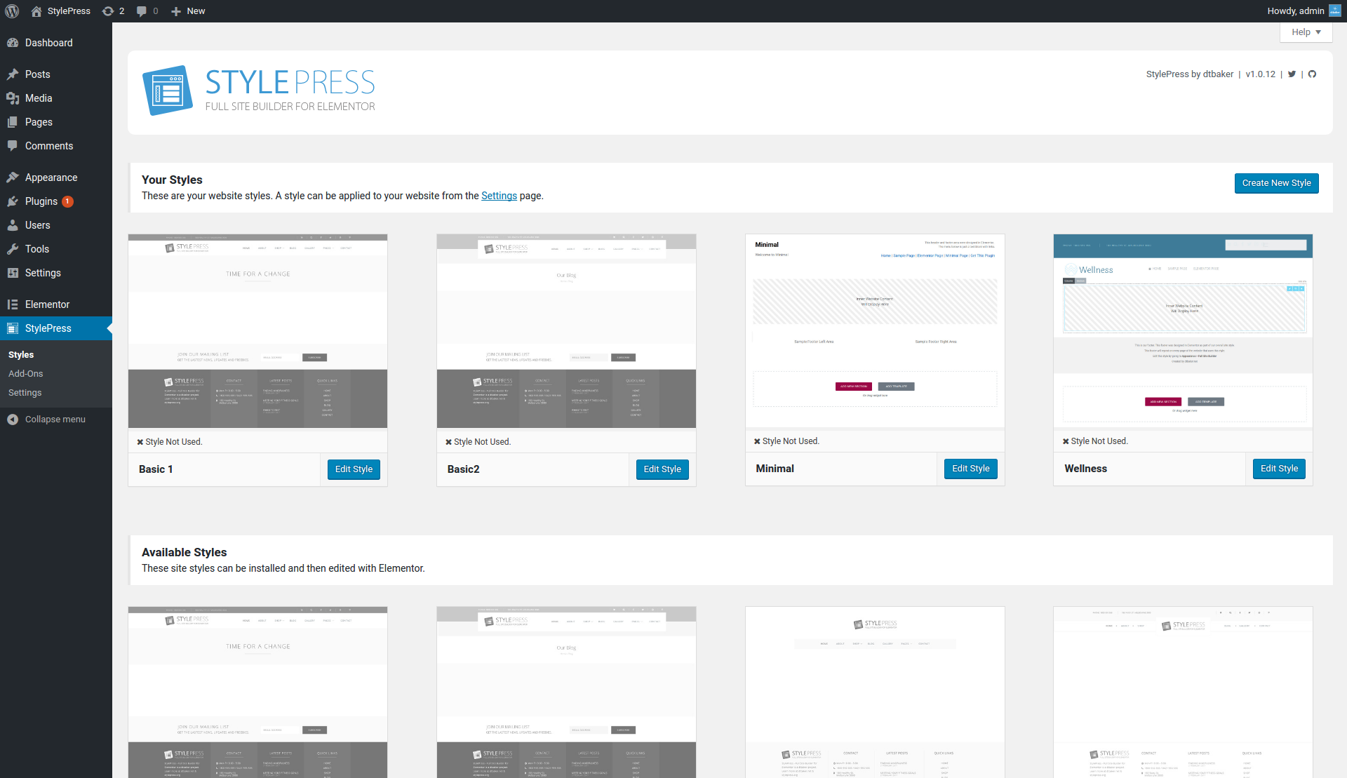 Overview of admin page. Showing all available styles for your site. Your site can have multiple styles.