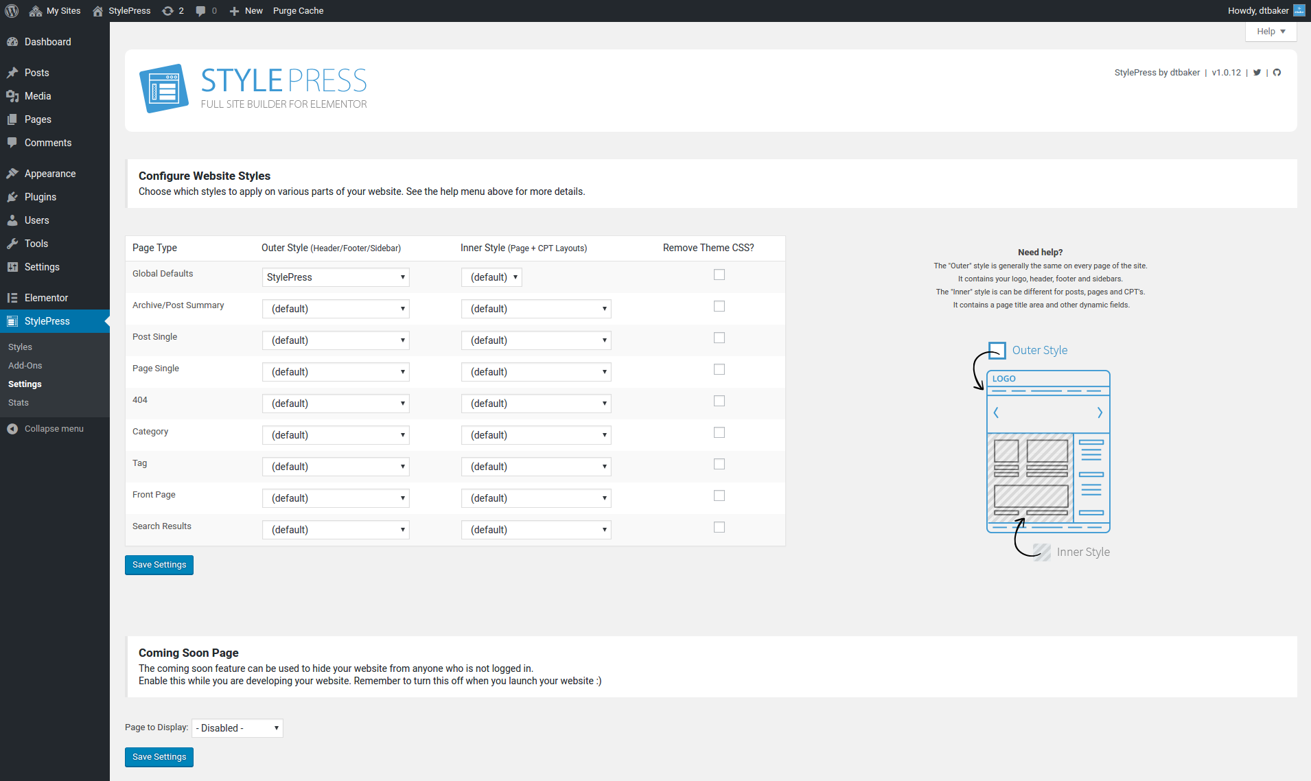 Overview of the settings page. You can set various default styles for various page types.