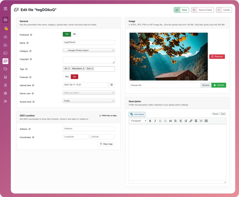 Admin File edit layout.