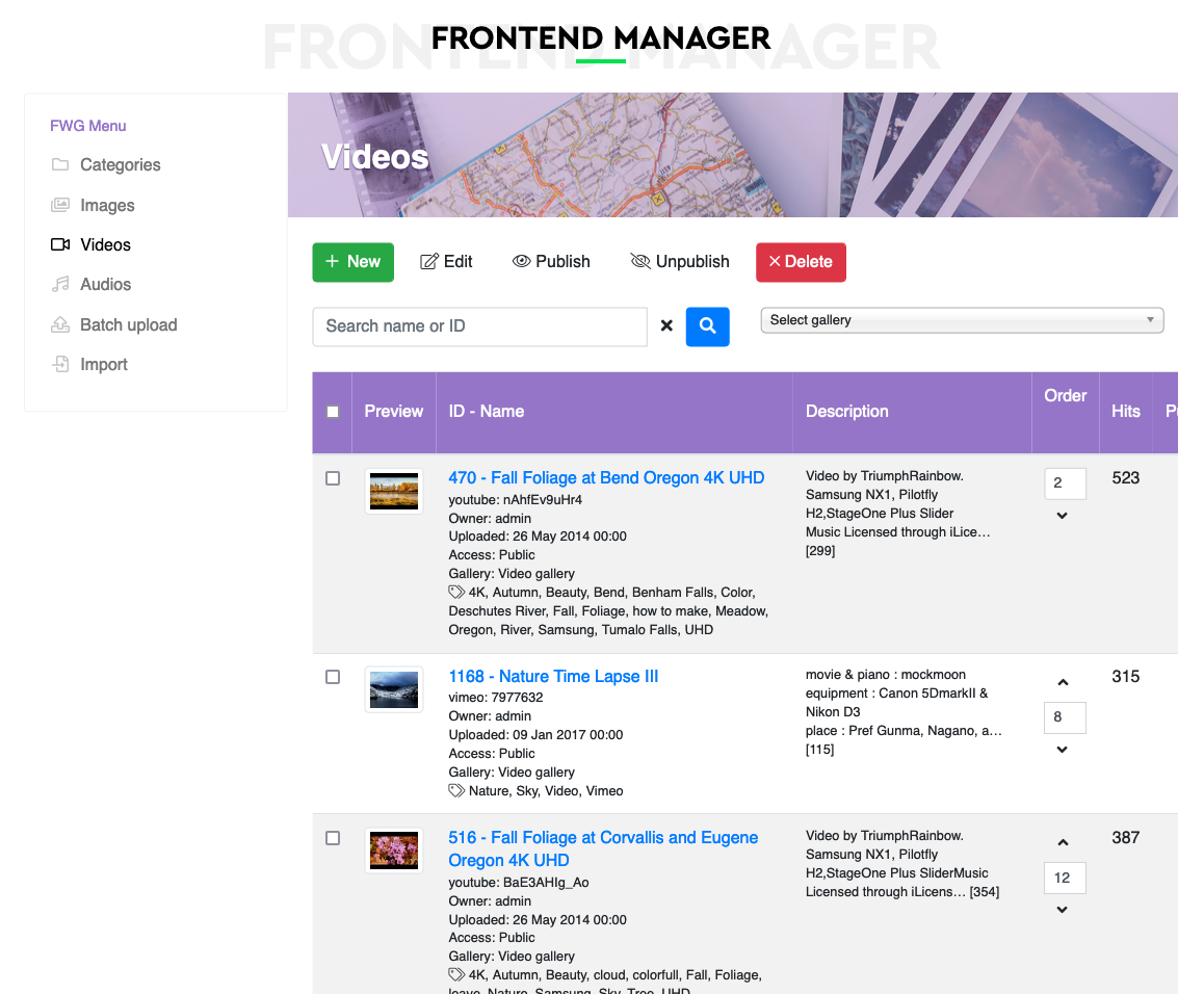 Front-end Manager page, that allows to edit files and categories via front-end, if allowed by global settings.