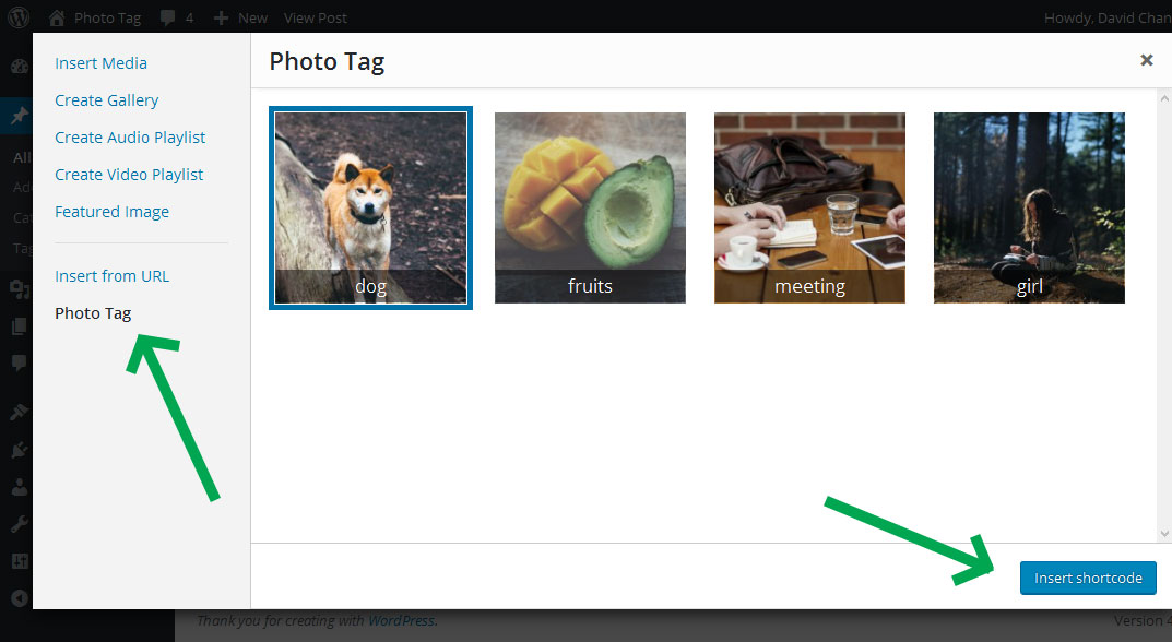 "Click ""Photo Tag"" to select and insert your tagged photo shortcode."