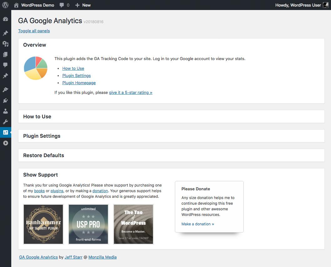 GA Google Analytics: Plugin Settings (default)