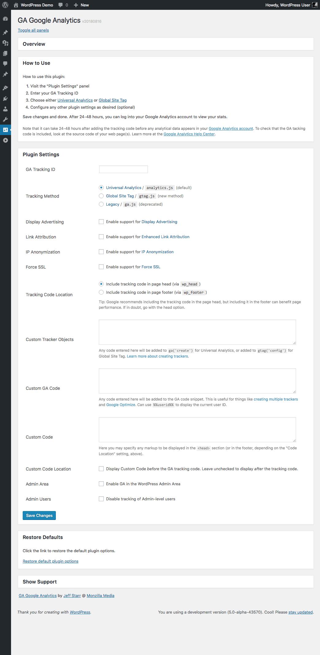 GA Google Analytics: Plugin Settings (expanded)