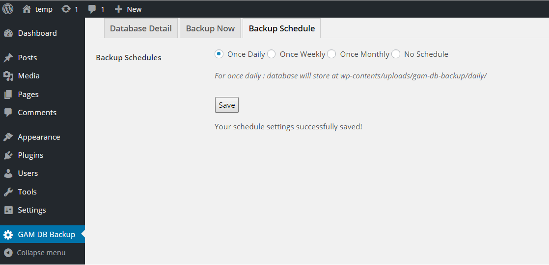This screen shot describe schedule settings.