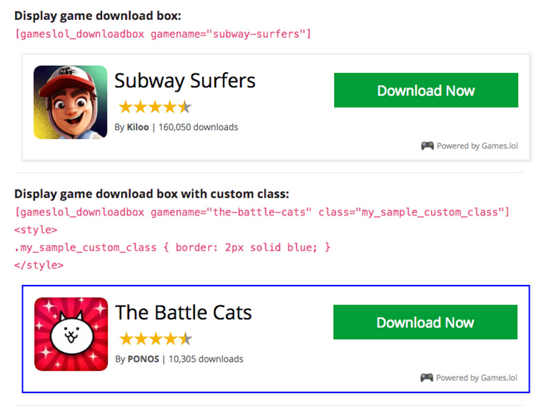Simple shortcode usage example: default download box, and another with custom css class.