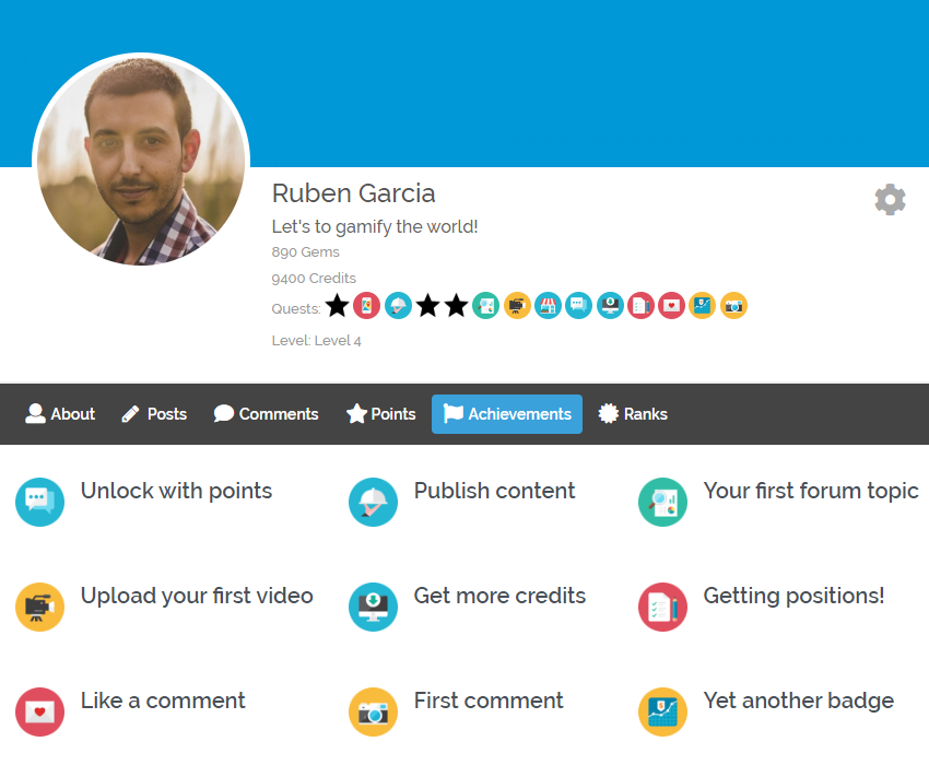 Show user points, achievements and ranks on frontend profile