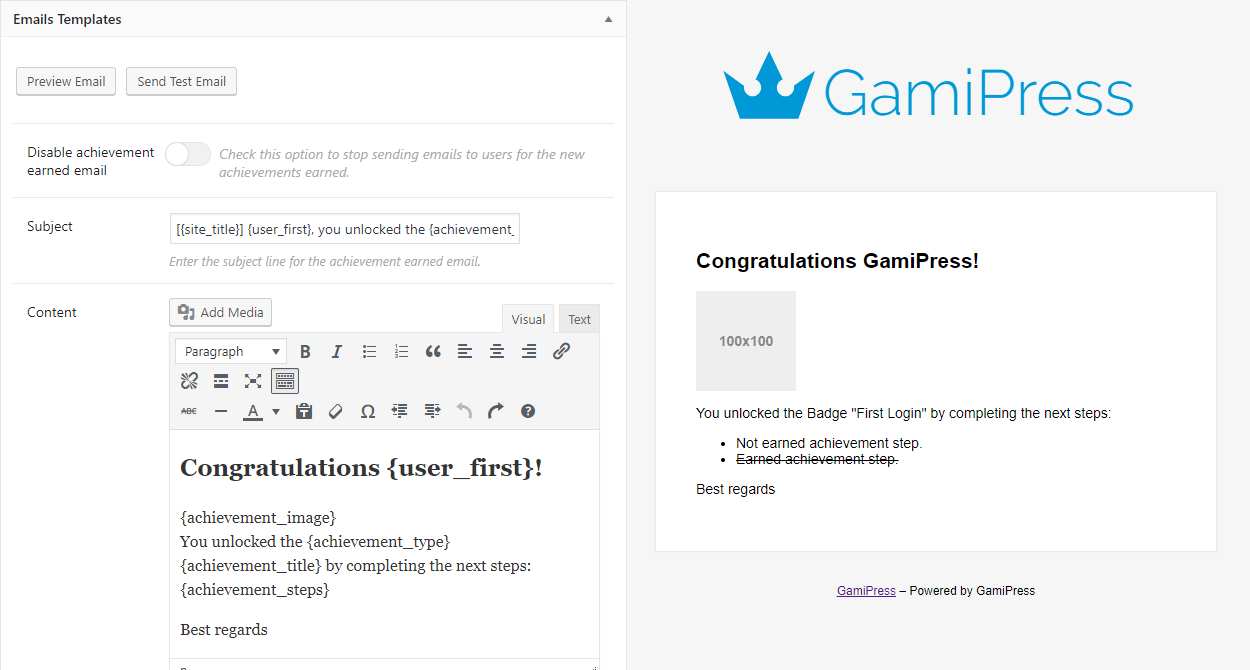Configurable email templates to let your users get notified automatically about new awards.
