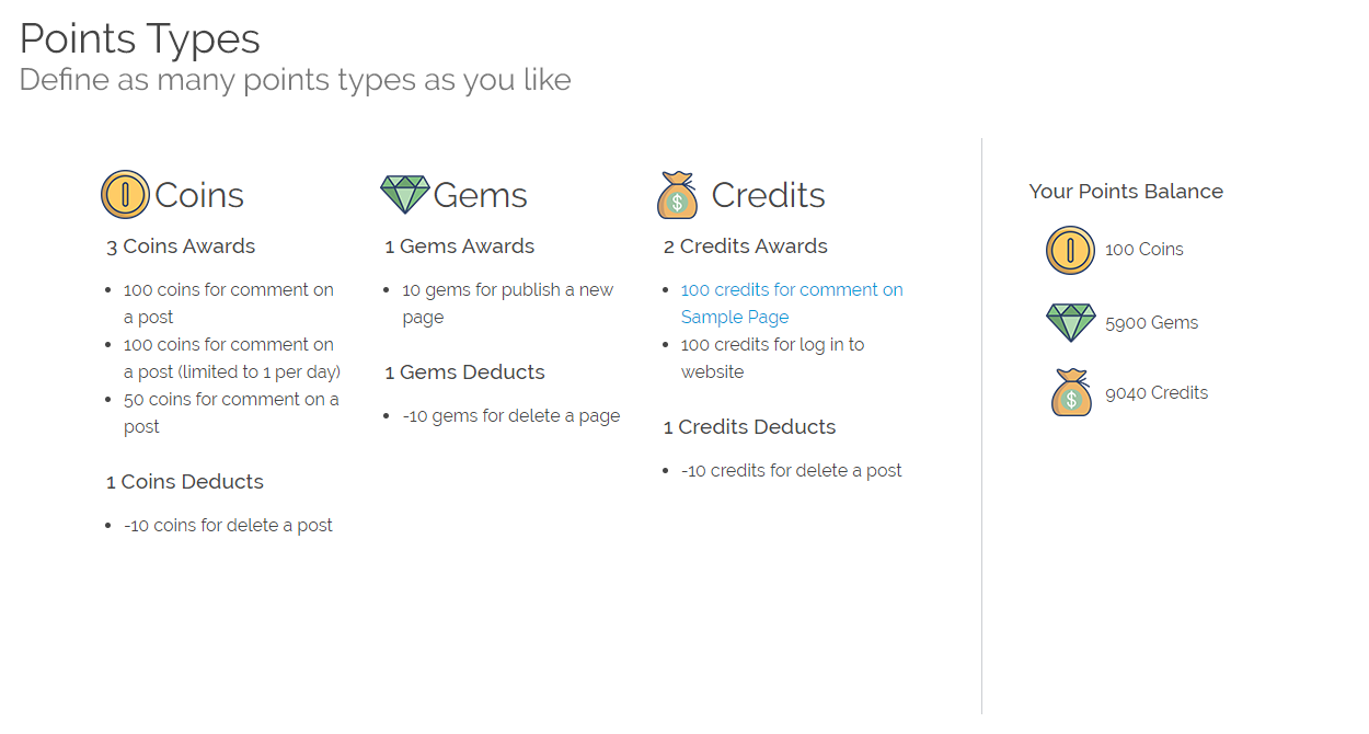 Configure as many points types as you like: Credits, Gems, Coins, etc.